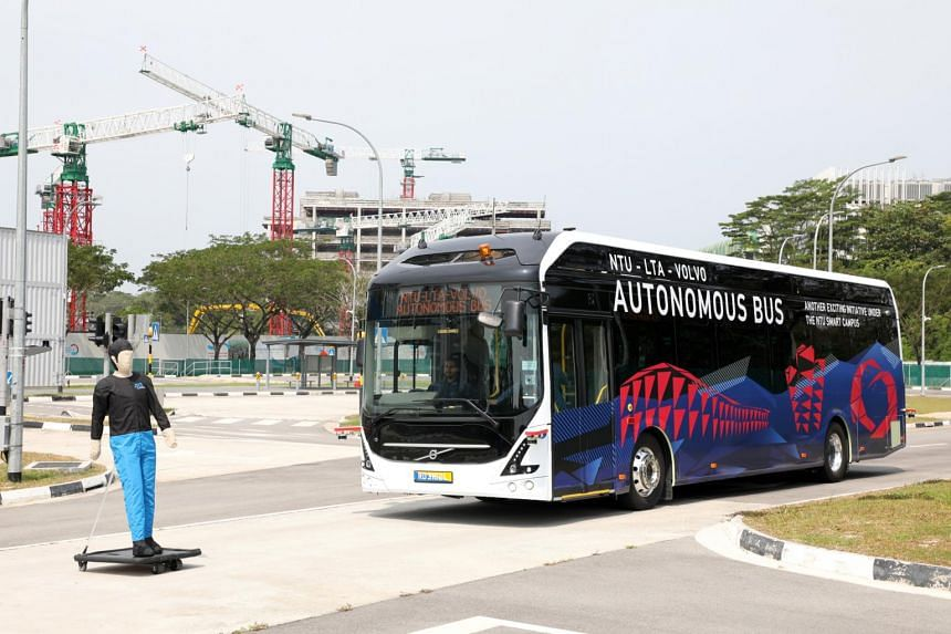 An autonomous electric bus in operation at the Centre of Excellence for Testing and Research of Autonomous Vehicles at Nanyang Technological University, on March 5, 2019.