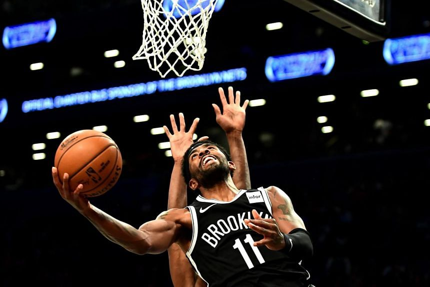 Kyrie Irving of the Brooklyn Nets in action against the Minnesota Timberwolves at the Barclays Center, on Oct 23, 2019.
