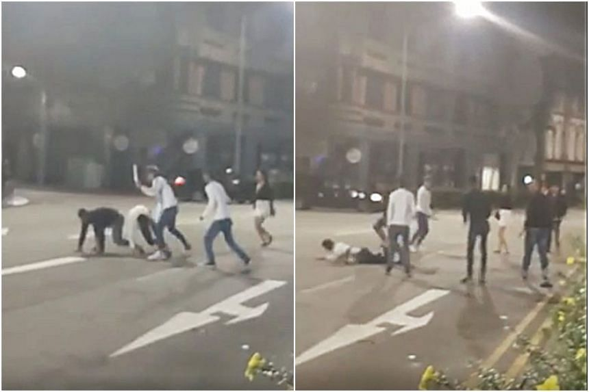 Ten people were involved in the fight in Tanjong Pagar Road at around 3am on Oct 18, 2019.