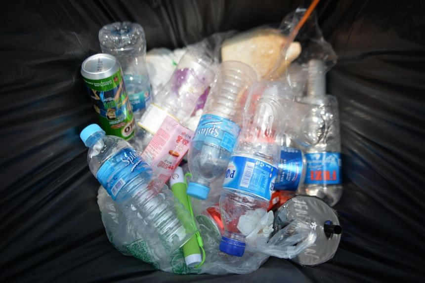 Plastic bottles in a bin at the Marina Bay area on Sep 24, 2019.