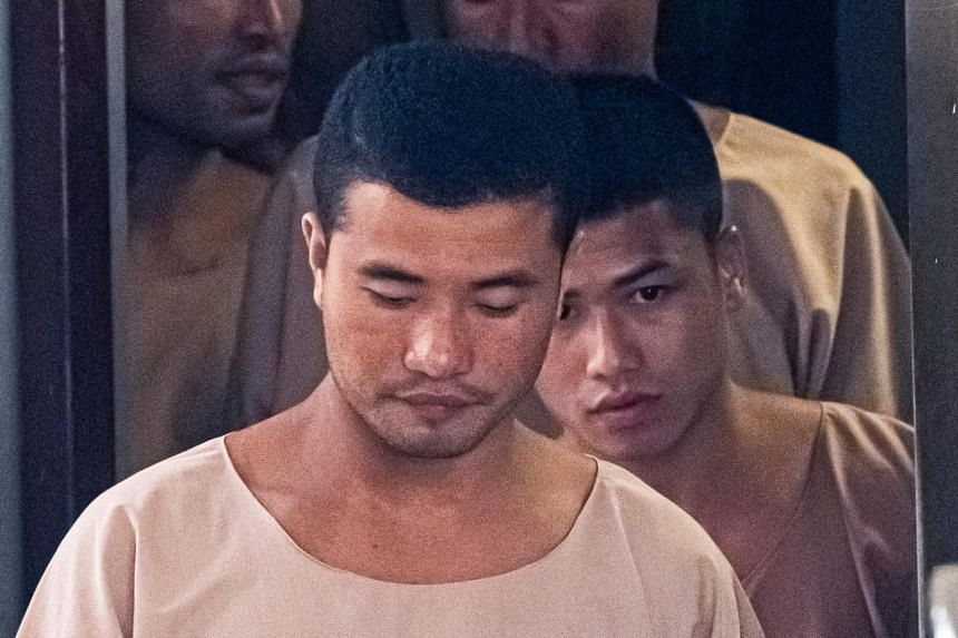 Zaw Lin (front) and Win Zaw Tun were sentenced to death by Thai courts for the rape and murder of Ms Hannah Witheridge and the killing of Mr David Miller.