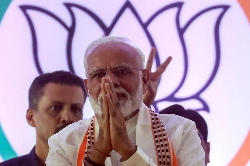 In this photo taken on Oct 18, 2019, Indian Prime Minister Narendra Modi thanks party supporters in Mumbai, India. Mr Modi's party and a regional ally were leading in 177 seats in the 288-seat assembly in the big western state of Maharashtra.