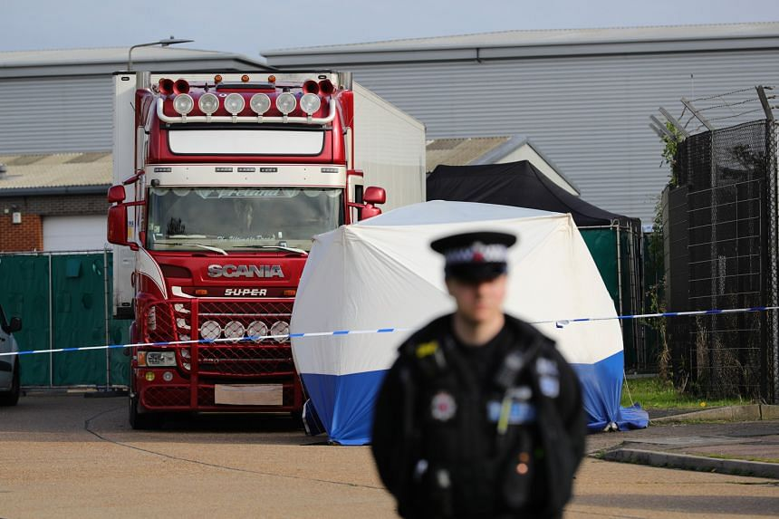 The container truck at Waterglade Industrial Park where 39 bodies - 38 adults and one teenager - were found yesterday. Police said the truck likely entered Britain last Saturday.
