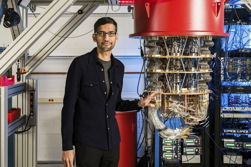 Google's Sundar Pichai with one of the web giant's quantum computers.