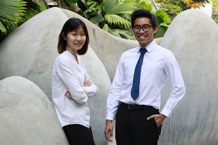 Ms Ong Yan Xiang, a recipient of the iBuildSG Young Leaders' Advocate award, and Mr Benjamin Chong, a recipient of BCA-WOHA iBuildSG Undergraduate Scholarship.