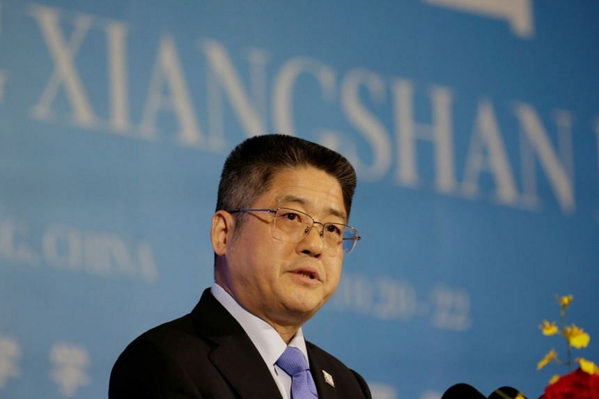 China's Vice-Foreign Minister Le Yucheng speaks at the Xiangshan Forum in Beijing on Oct 22, 2019.