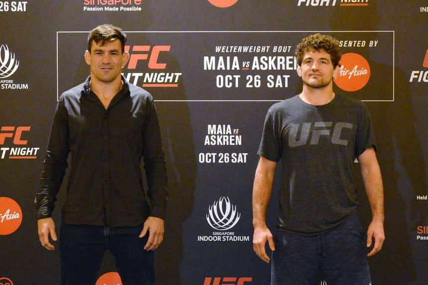 Ben Askren (right) will headline the Fight Night Singapore event at the Singapore Indoor Stadium on Oct 26, when he takes on Brazilian exponent Demian Maia (left).