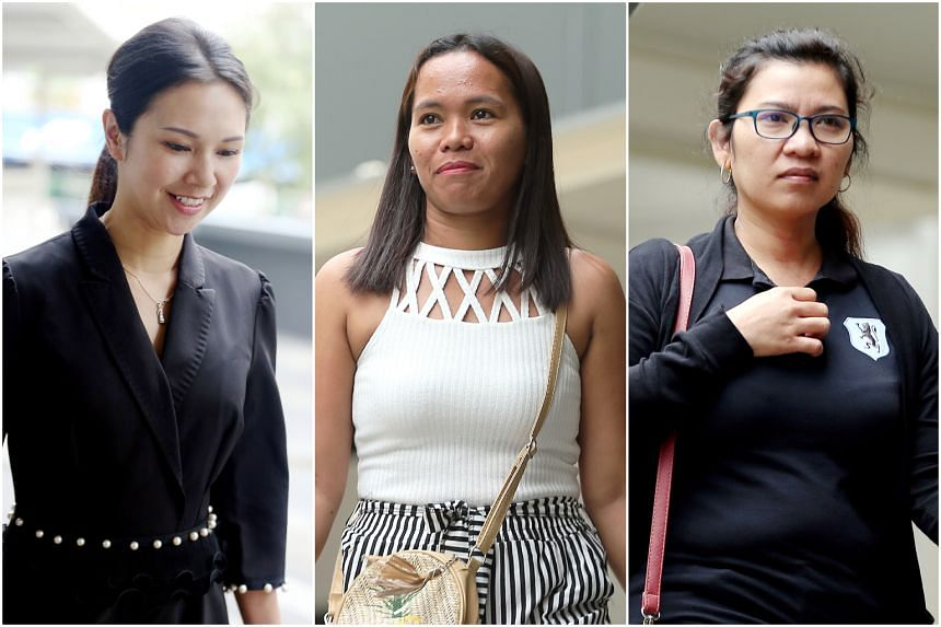 Belinda Huber (left) is claiming trial to one count of failing to provide a safe working condition for domestic helper Taculad Rose Mae Mata (centre). Ms Villegas Lyn Balbao (right), another maid who works next door, said she was ironing clothes at h