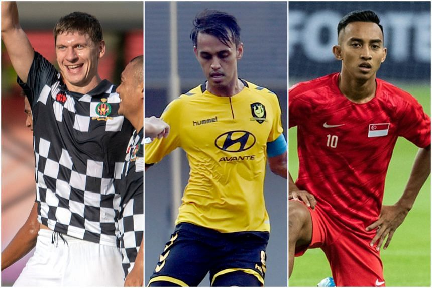 (From left) Brunei DPMM's Andrei Varankou, Tampines Rovers skipper Shahdan Sulaiman and Hougang United's Faris Ramli are shortlisted for the Player of the Year Award.