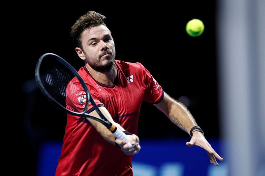 Wawrinka in action during his second-round match against Frances Tiafoe of the US.