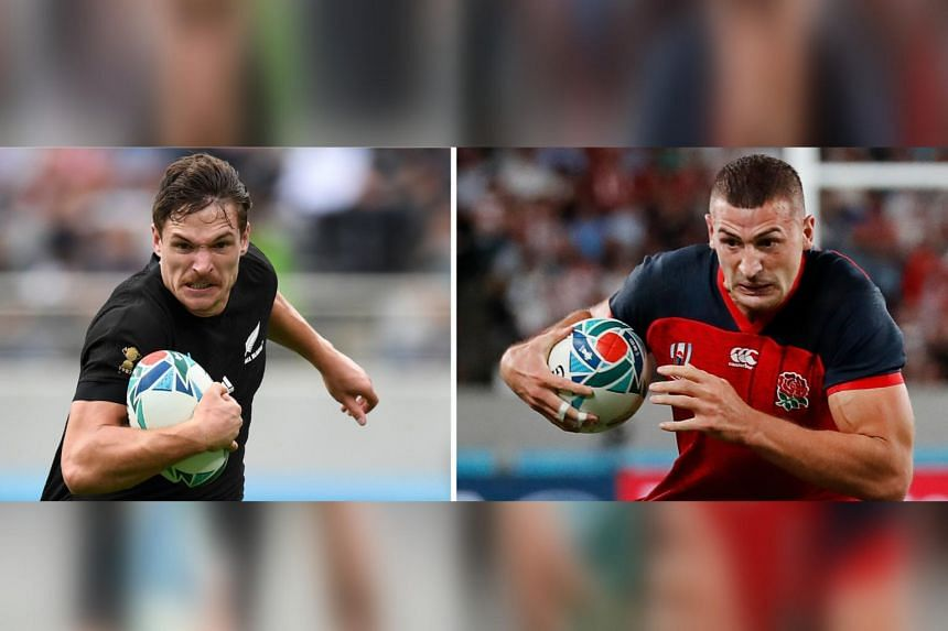A photo created on Oct 24, 2019 of New Zealand's George Bridge (left) and England's Jonny May. England will play against New Zealand in their Japan 2019 Rugby World Cup semi-final match on Oct 26, 2019.