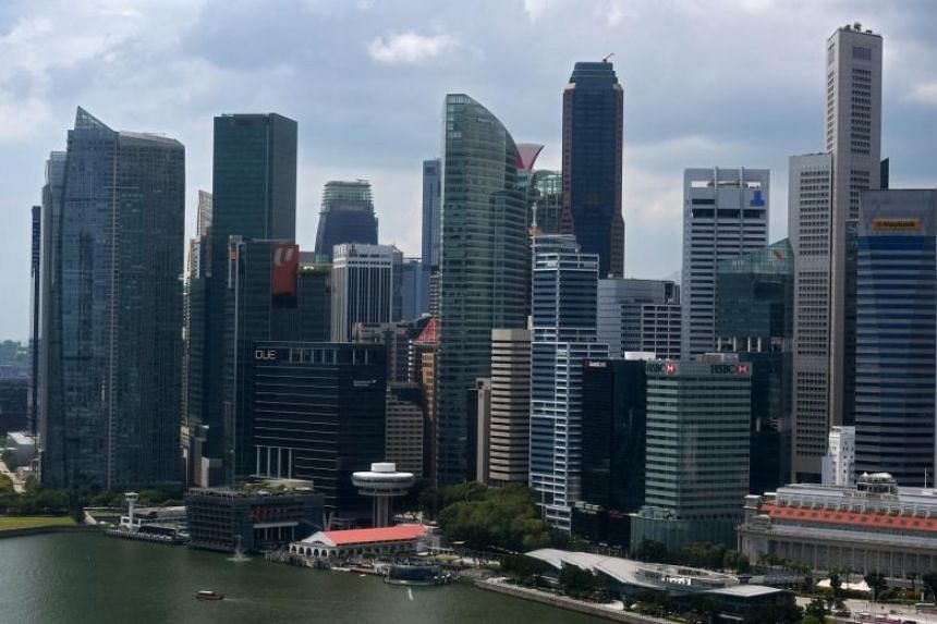 The skyline of Singapore's central business district seen in a photo taken on Jan 9, 2019.