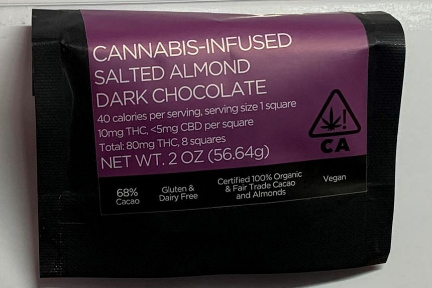 A 25-year-old woman was arrested for suspected drug abuse after she handed over a packet of chocolate and two strawberry taffies both believed to be infused with cannabis.