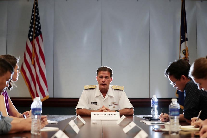 Commander of the US Pacific Fleet, Admiral John Aquilino, speaks during an interview on Oct 25, 2019.