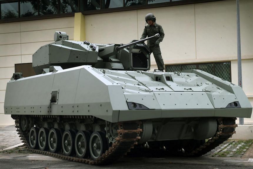 The Hunter, the Singapore Army's latest armoured fighting vehicle, is able to integrate with unmanned platforms in the future to gather reconnaissance and surveillance information.