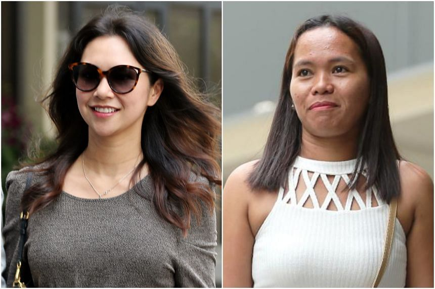 """Australian Belinda Huber alias Belinda Tran (left) testified that if she had seen her maid, Ms Taculad Rose Mae Mata, she would have told the latter: """"Come back. You shouldn't be there."""""""