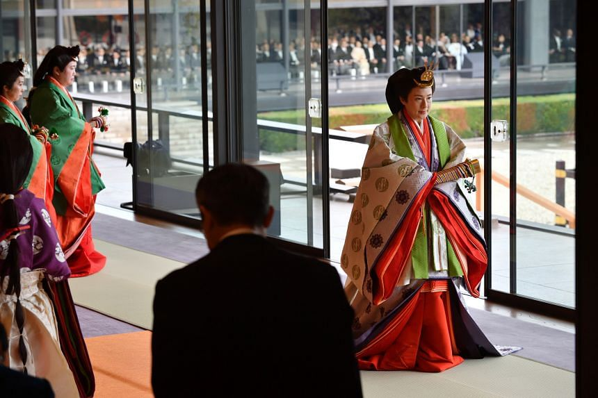 Empress Masako after the enthronement of her husband at the Imperial Palace in Tokyo on Tuesday. The Empress has long struggled with what the imperial household terms an ''adjustment disorder''.