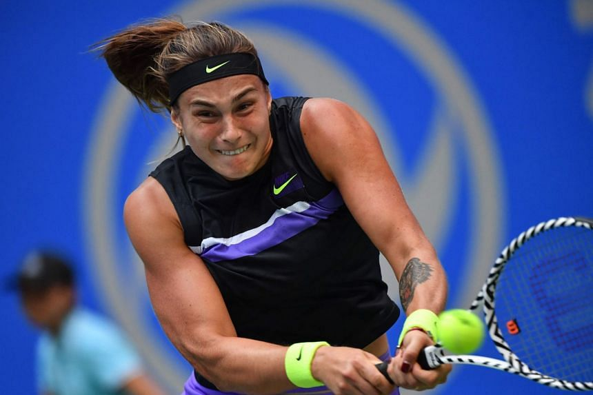 Sabalenka (above, during the Wuhan Open) beat doubles partner and Belgian sixth seed Elise Mertens 6-4 3-6 7-5.