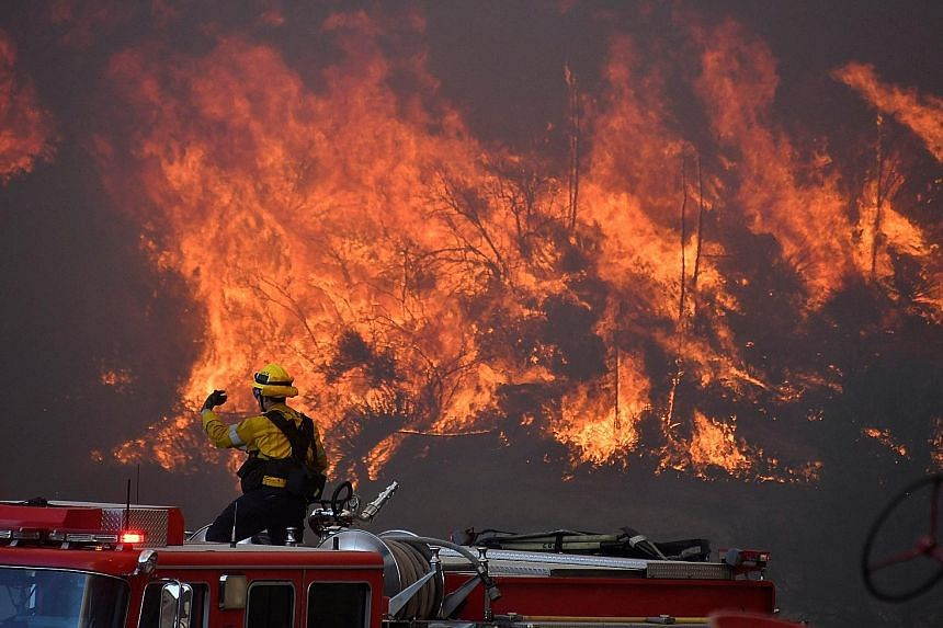 Firefighters battling a wind-driven wildfire in the hills of Canyon Country, north of Los Angeles, on Thursday.
