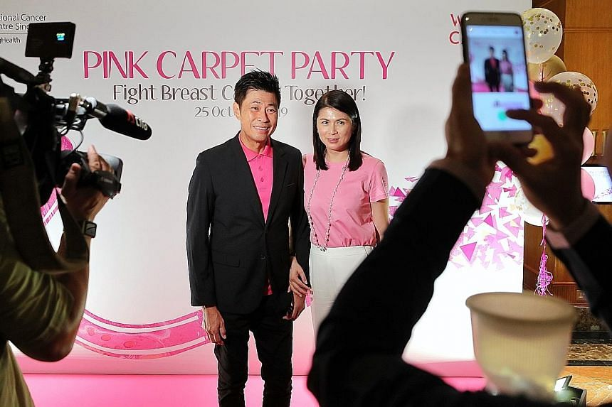 Guests, including artists Pan Lingling and her husband Huang Shinan, were encouraged to dress in pink at the inaugural fund-raising dinner in aid of breast cancer research and to support breast cancer patients. The event was attended by breast cancer pati