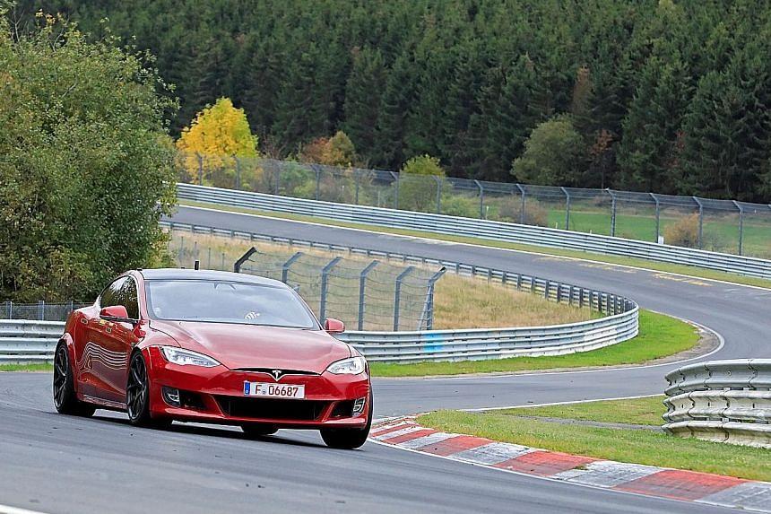 A Tesla Model S on the Nurburgring racetrack in the western German mountain range of the Eifel near Adenau last week.