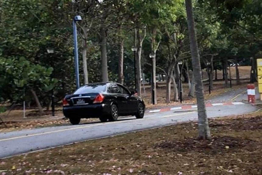 Facebook user Cap Lim said in a post that he saw the black Nissan Sunny on a footpath and cycling track in the park on Oct 18, 2019.