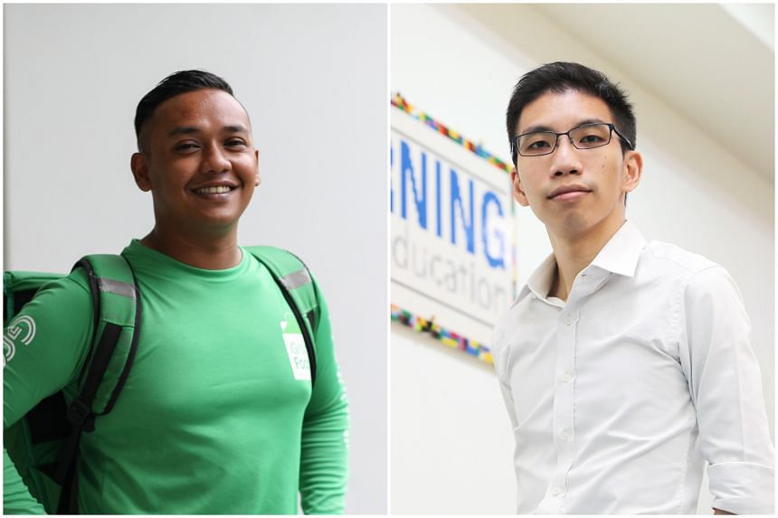 The first pair of shortlisted candidates are food delivery rider Muhammad Riau Alfian (left), who rescued an elderly man trapped in a truck in Jurong, and education consultant Chalmers Chin, who stopped an unconscious cabby's taxi with his own car al