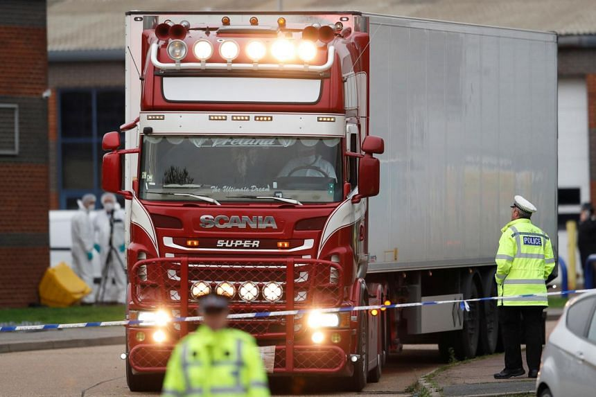 The truck was found near the main freeway encircling Greater London, but was registered in Bulgaria and had come by ferry from Dublin to pick up the container that had come to England via Belgium.