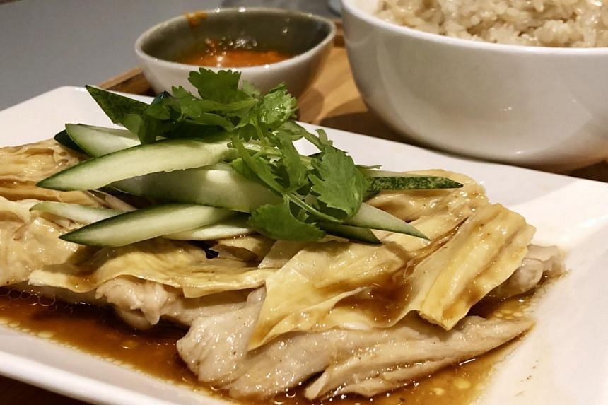 Hainanese chicken rice from Prive Tiong Bahru. The soon-to-open restaurant's menu also features other plant-based dishes using brands such as Beyond, Impossible and Omnipork.