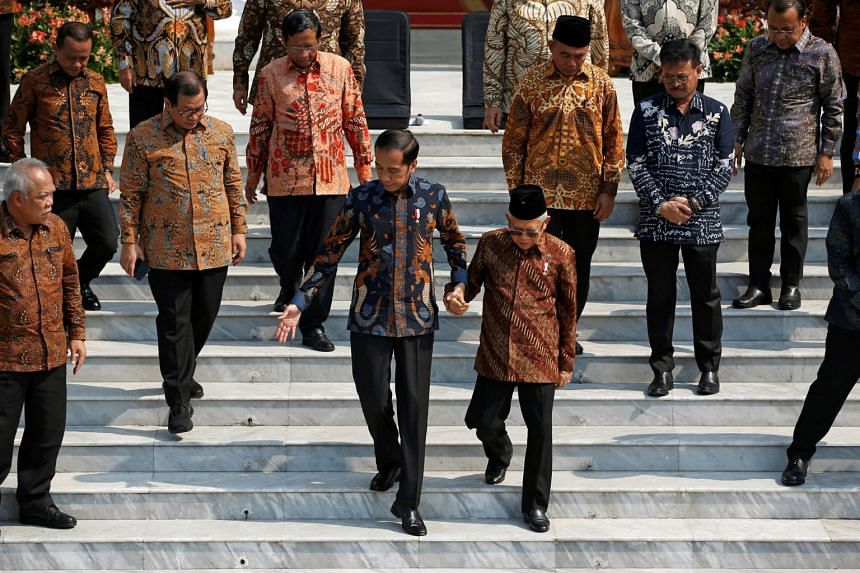 Mr Joko (centre left) was re-elected in April and sworn into office for his second and final five-year term on Oct 20, 2019.