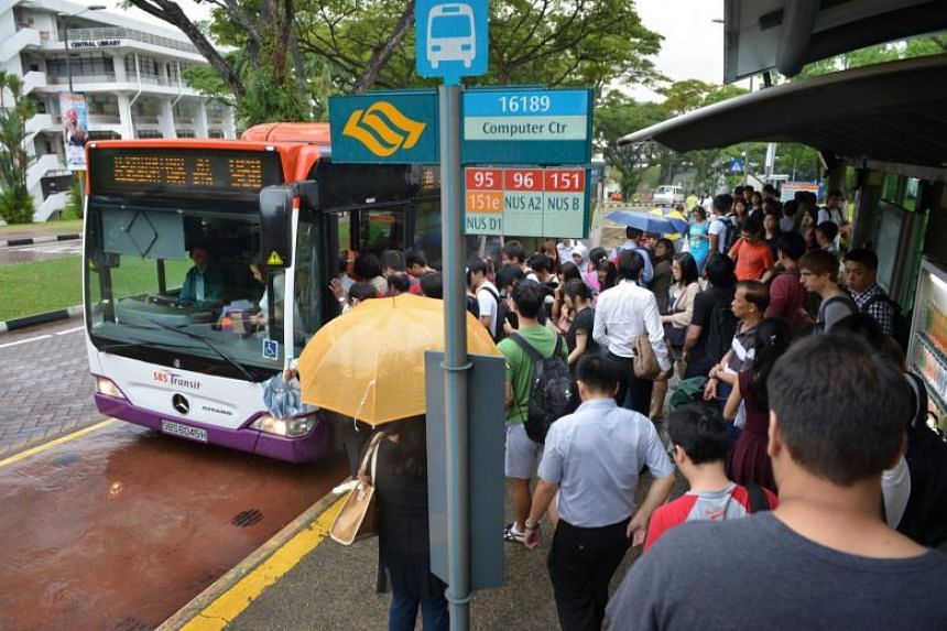 A bus stopping in front of the central library at the National University of Singapore on Nov 9, 2012.
