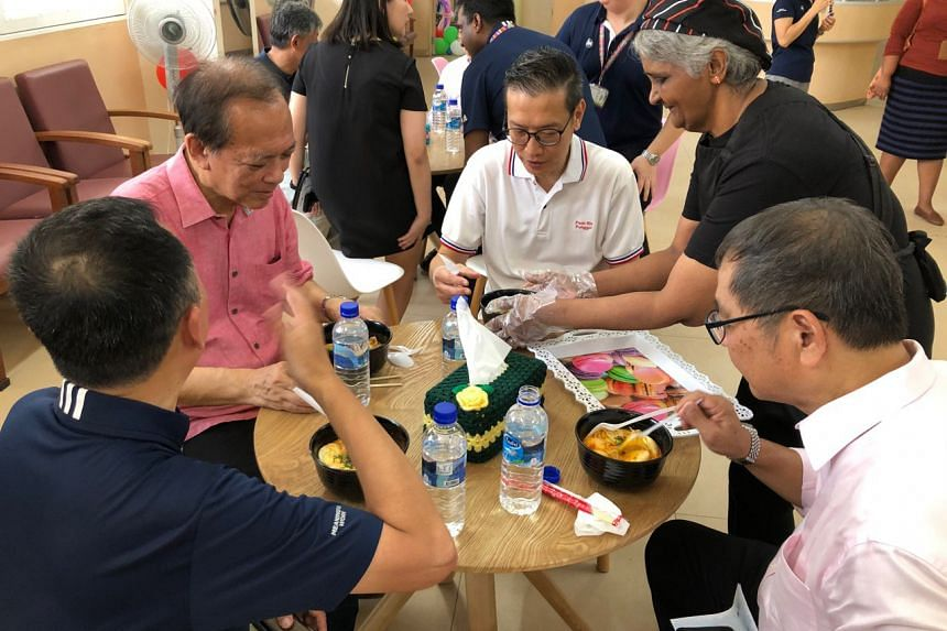 (Clockwise from top left) Punggol East MP Charles Chong, Punggol East Citizens Consultative Committee chairman Raymond Lye, Institute of Mental Health (IMH) patient Malliga, Maybank Singapore deputy CEO Allen Ng and IMH CEO Chua Hong Choon at the ope