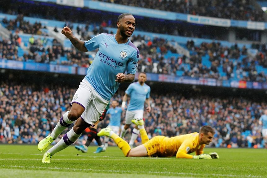 Manchester City's Raheem Sterling celebrates after scoring against Aston Villa at the Etihad Stadium on Oct 26, 2019.