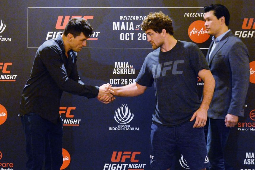 A photo taken on Oct 24 shows Demian Maia (left) and Ben Askren meeting before facing off at UFC Fight Night Singapore at the Indoor Stadium on Oct 26, 2019.