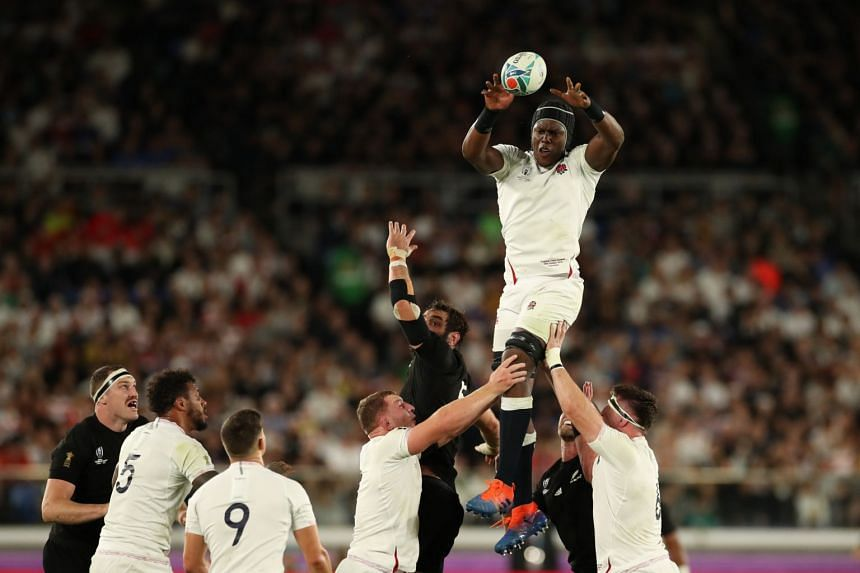 England's Maro Itoje in action during the Rugby World Cup semi-final match against New Zealand at Yokohama Stadium on Oct 26, 2019.