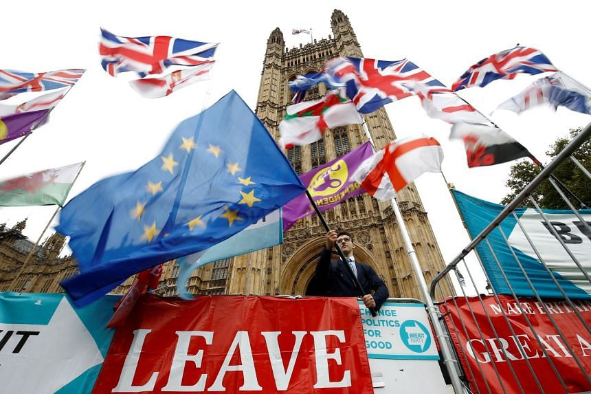 An anti-Brexit protester waves an EU flag outside the Houses of Parliament in London.