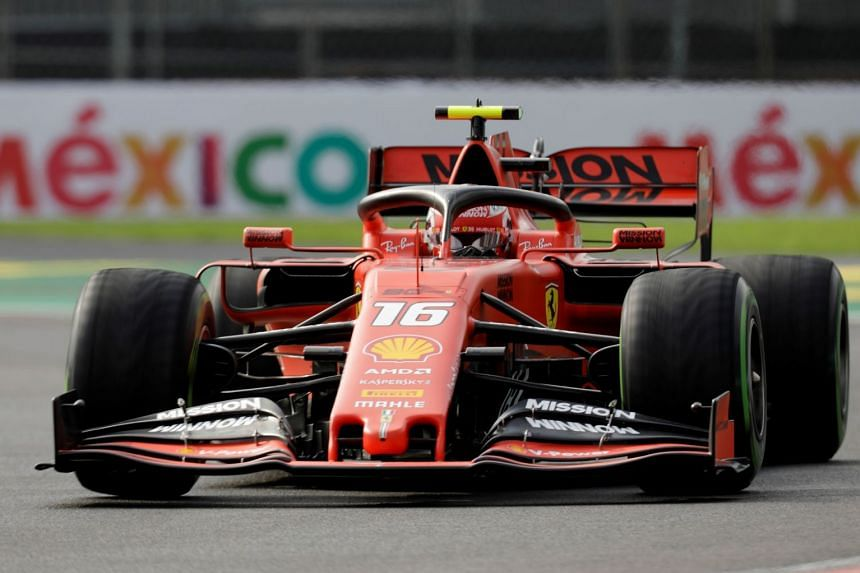Ferrari's Charles Leclerc in action during practice.