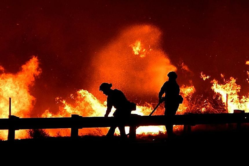 California firefighters battling a fire north of Los Angeles on Friday. Winds gusting at speeds of up 112kmh gave way to light breezes on Thursday, slowing the fires' advance, but the lull was expected to be short-lived.