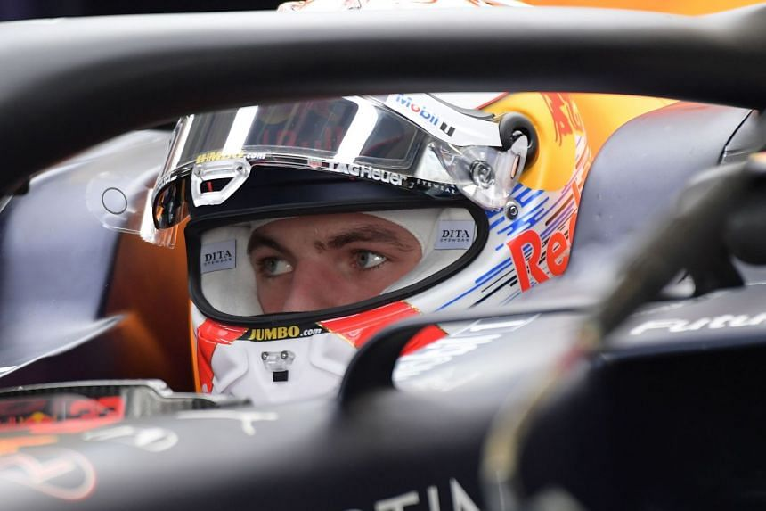Verstappen is pictured in a Pits during the third free practice session.