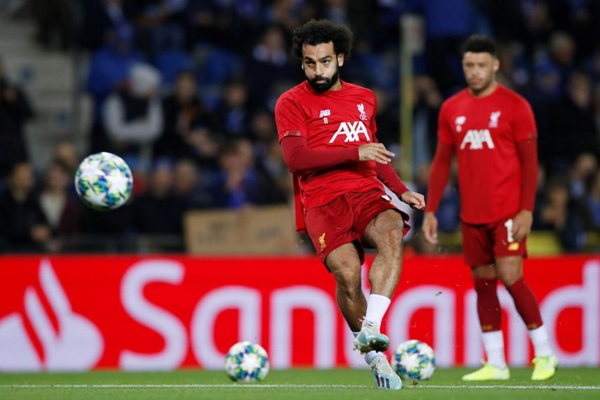 Liverpool's Mohamed Salah during a warm up session, on Oct 23, 2019.