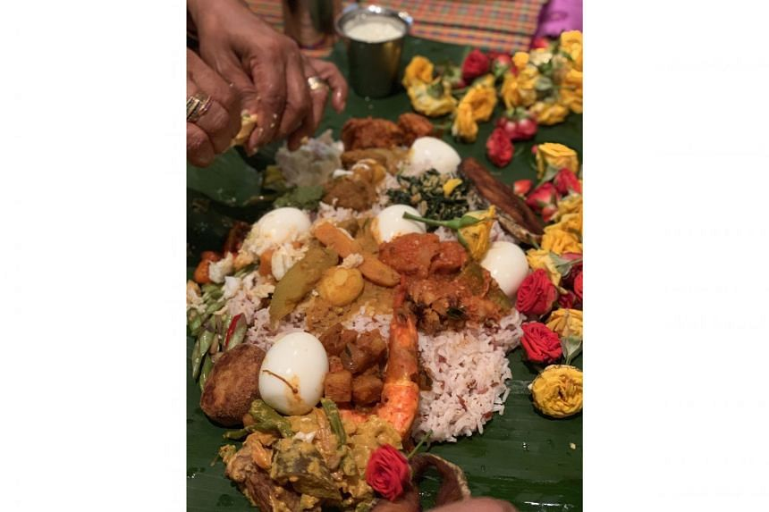 For the ancestral prayer session, about 20 dishes are prepared which, for the writer's family, include everything from dalcha to devil curry (above). After the prayers, the food is mixed and formed into balls and served to everyone who took part in t