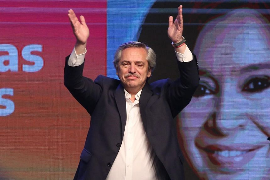 Presidential candidate Alberto Fernandez celebrates his victory after election results in Buenos Aires, Argentina, on Oct 27, 2019.