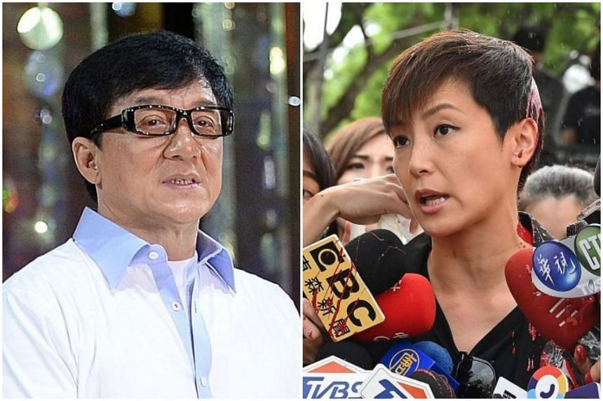 Actor Jackie Chan (left) was slammed online, while pop star Denise Ho was doused with red paint in Taipei during a Hong Kong solidarity rally.
