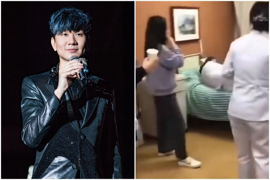 In a video circulating on the Internet, some nurses and hospital staff were shown taking turns to lie and roll on a bed said to have been used by Singapore singer JJ Lin during his stay at Zhenjiang First People's Hospital in China's Jiangsu province