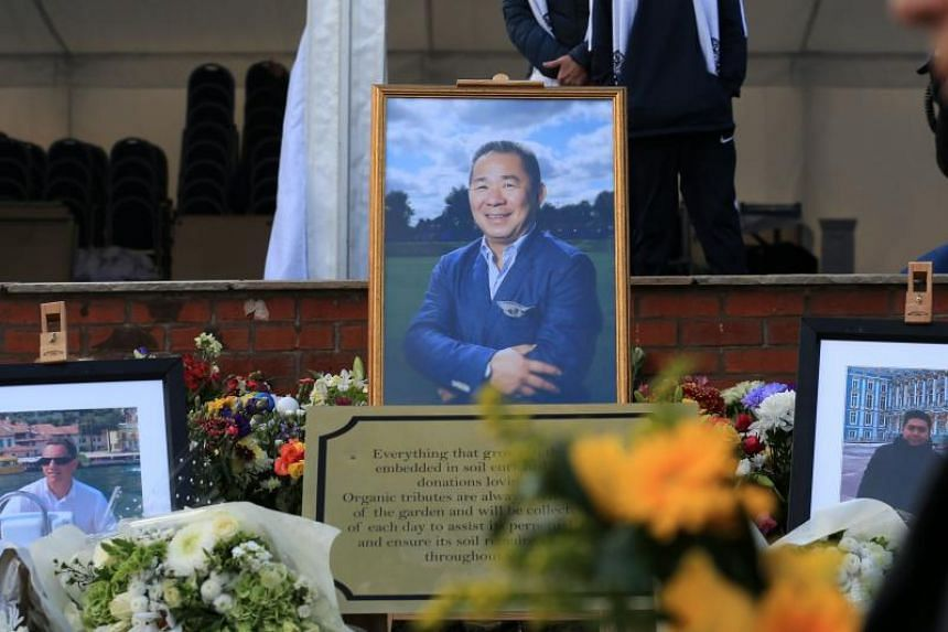 A framed photograph of Vichai Srivaddhanaprabha is prominently desplayed within the recently opened memorial garden, honouring the five people who died in a helicopter crash on the site, beside the King Power Stadium in Leicester on Oct 27, 2019.