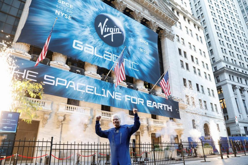 Sir Richard Branson stands outside the New York Stock Exchange (NYSE) ahead of Virgin Galactic's IPO in New York on Oct 28, 2019.