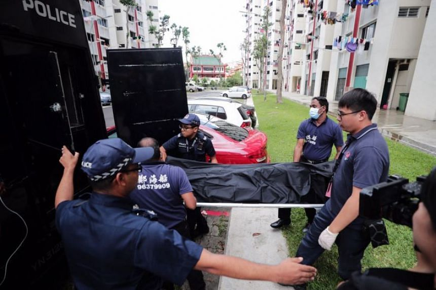 The victim's body being carried away from the scene, on Oct 27, 2019.