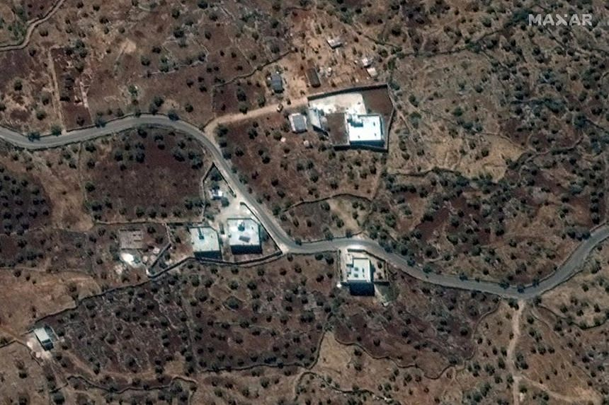 A satellite view of the reported residence of ISIS leader Abu Bakr al-Baghdadi near the village of Barisha, Syria, collected on Sept 28, 2019. The operation was staged from a base in western Iraq, a United States official told Reuters.
