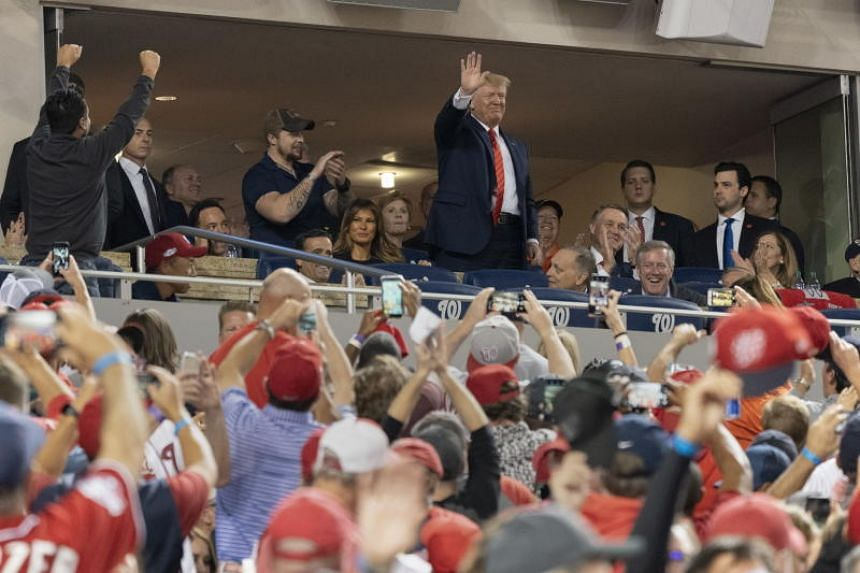 US President Donald Trump during game five of the World Series at Nationals Park in Washington, DC, on Oct 27, 2019.