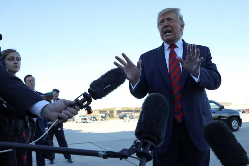 US President Donald Trump speaking to reporters at Joint Base Andrews in Maryland on Oct 28, 2019.